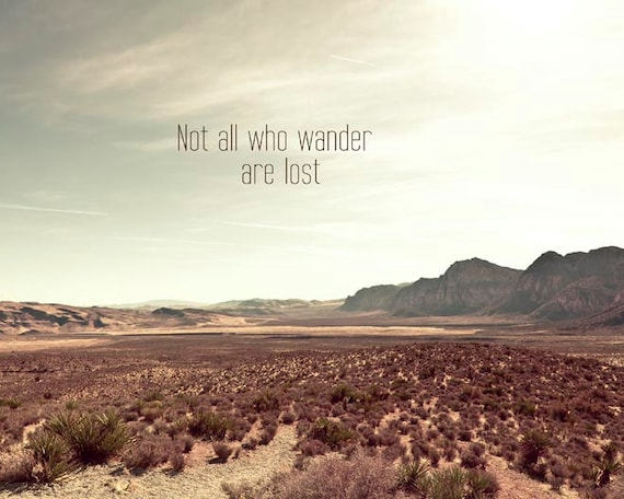 Not all who wander are lost, Inspirational Quote, Travel Photography, Mint, Brown, Neutral, Rustic Decor, Large Wall Art