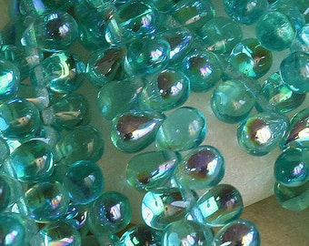 4x6mm Teardrop Beads - Jewelry Making Supplies - Glass Beads -  Seafoam AB Aurora Borealis (100 pieces)