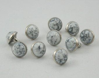 20 sets White Turquoise Rivet Stud Leather Craft Decorations Fashion 9 mm.