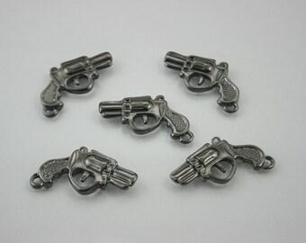 10 pcs. Zinc Black Handgun Pistol Charms Pendants Decorations Findings 17 mm. RCG1