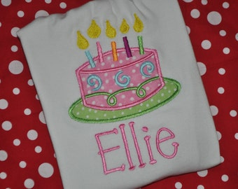 Monogrammed Embroidered Applique Birthday Cake Shirt