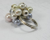 Pearl Cluster Ring Pearl Cocktail Ring Sterling Silver Adjustable Ring Dinner Ring