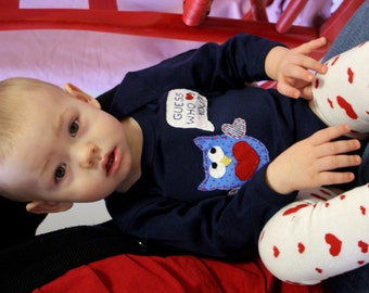 """Valentine's Day """"Guess WHO Loves You"""" OWL Bodysuit for Baby BOYS, perfect for 1st Valentine's Day Pics"""