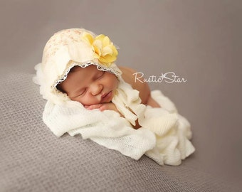 MARLEE- Cream and Yellow. Floral. Newborn Fabric Bonnet. Vintage Style. Photo Prop. Baby Girl. Tolola Design.