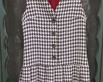 Vintage 1960's Mary Katherine Gallagher Wool Mini Dress in Brown & White Wool by Fritzi of CA