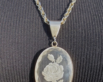 Vintage 1960's Carved Rose Intaglio Pendant Necklace w/Brass Chain for Your Valentine