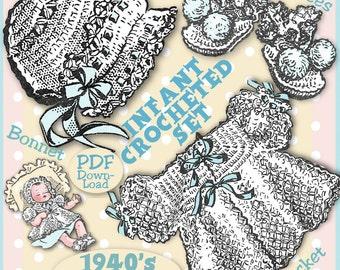 Sweetest Baby BONNET BOOTEES  JACKET Crocheted Set Vintage 1940s e-pattern Pdf