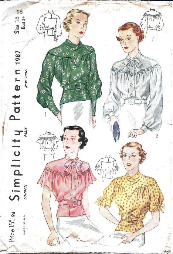 1930s Womens Blouse - Simplicity 1987 Vintage Pattern - 34 Bust - Shirred and Gathered