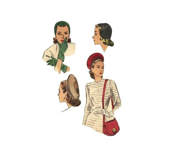 1940s Womens Hat Gloves Purse - Simplicity 2173 Vintage Pattern - Size 6.5 Accessory Set