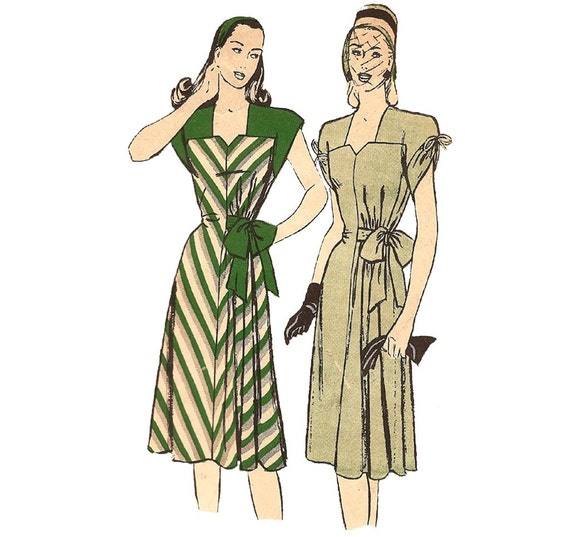 1940s Womens Dress - Butterick 3819 Vintage Pattern - 32 Bust