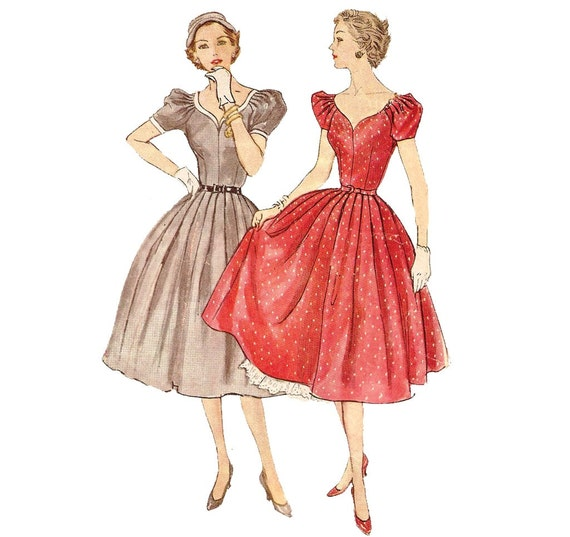 1950s Juniors Dress and Petticoat - Simplicity 3780 Vintage Sewing Pattern - Bust 31 Size 13