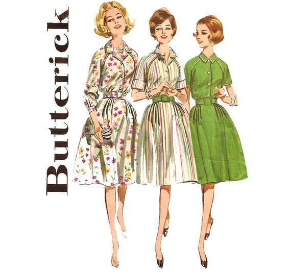 1960s Womens Shirtdress - Butterick 2626 Vintage Pattern - Bust 36 Size 16 - Belted Proportioned Shirtwaist