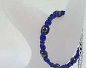 Dark Blue Hemp Bracelet with Hematite Gemstone and Sapphire Czech Glass Beads