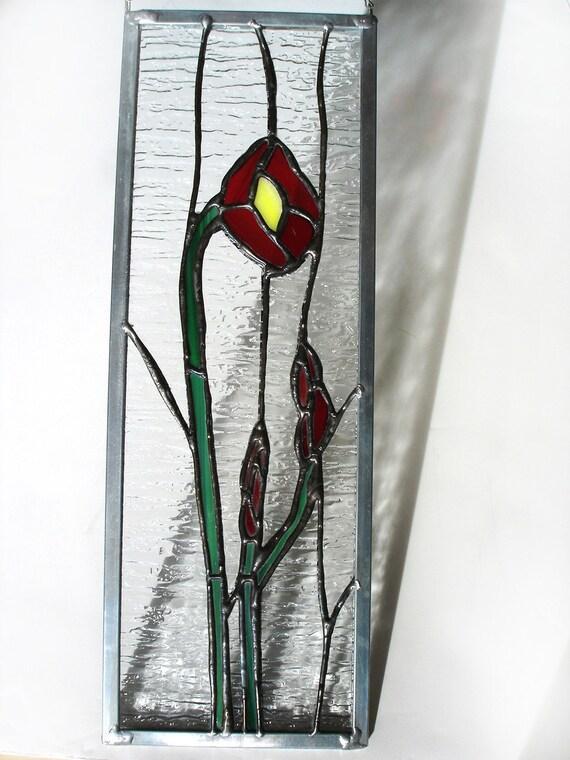 Red poppy stained glass flower suncatcher panel bright vibrant decorative art, poppies