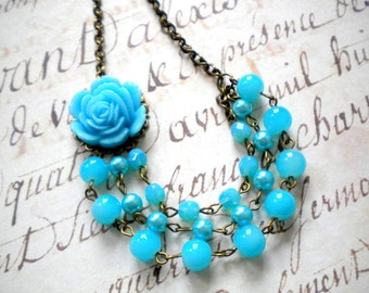 Turquoise Necklace Turquoise Bridesmaid Necklace Flower Necklace Turquoise Wedding Jewelry Summer Wedding Party Bridal Shower Jewelry
