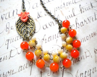 Orange Necklace Orange Flower Necklace Orange Bib Necklace Beadwork Statement Necklace Orange Wedding Jewelry Orange Bridesmaid Necklace