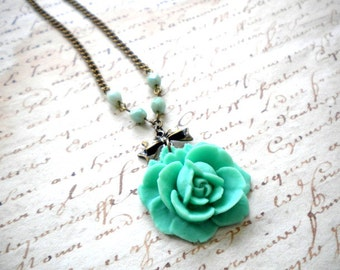 Rose Necklace Flower Necklace Turquoise Green Necklace Flower Jewelry Rose Pendant Necklace Turquoise Jewelry Summer Necklace Mint Necklace