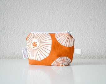 Small Zipper Pouch - Coin Purse - White Poppies on Orange