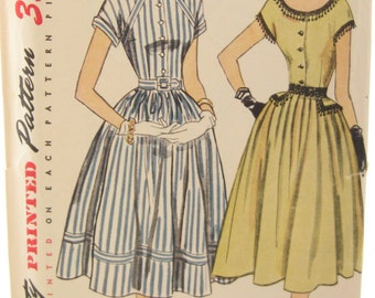 1950s Simplicity 3509 Button Front 50s Peplum Dress Vintage Sewing Pattern Bust 30