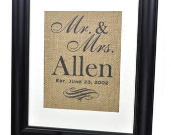 Personalized Family Name Burlap Print Established Family Sign 14x17 Frame and Mat included