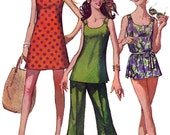 Swimsuit Mini Dress Bell bottom pants pattern 1960s Vintage Simplicity 8246 Sewing Pattern Size 12 Bust 34 inches