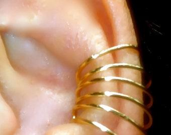 Sping Six - Pierceless Gold Filled 6 hoops Ear Cuff - Single