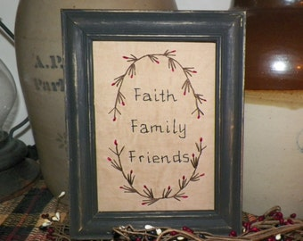 UNFRAMED Primitive Decor Stitchery Picture Sampler Country Home Decoration Faith Family Friends Cupboard Tuck wvluckygirl