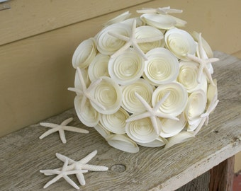 Starfish Bridal Bouquet, Ivory Paper Flower Wedding Bouquet with Starfish Accents, Large Beach Bridal Bouquet