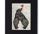 Bear love vintage dictionary page print Bears hugging with heart Upcycled Artwork rustic decor valentine gift (Mat not Included)
