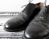 Black Leather Wingtip Shoes - Size 9