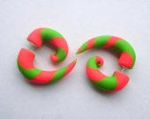 MadHatter Hot Pink & Lime Green Spiral Fake Stretched Earring- Spiral