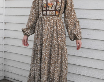 Vintage Prairie Dress 70s Floral Brown Jody T Boho Country Print XS