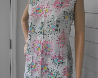 Vintage Print Blouse White Sleeveless Floral Spring Casual Thailand M
