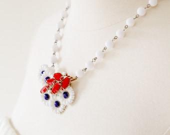 Patriotic Bouquet. Vintage Repurposed Rhinestone Necklace.