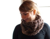 Hand knit cowl neck warmer in brown beige. Warm and soft neck accessory