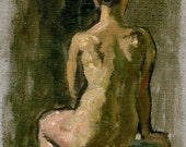 Original Fine Art, Female Nude Seated. Small Oil on Canvas, 6x8 Classic Realist Figure Painting, Signed Original Fine Art