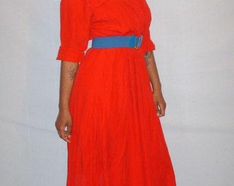 Vintage 1990s Red Classic Dress Plus Size