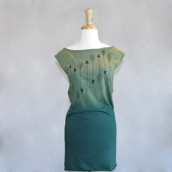 LAST ONE - Size Large - Arrows Dip Dyed Ombré One of a Kind Women's Jersey Dress in Forest Green