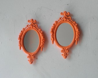 Peach Wall Mirror Set of Two in Vintage Brass Oval Frames, Peach Nursery Decor, Mirror Decorating