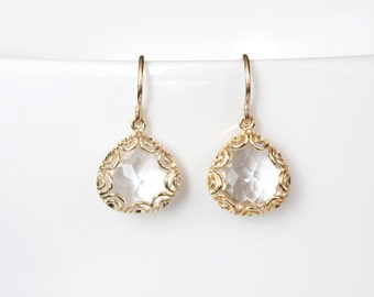 Gold Framed Glass Pendant Earrings - Crystal Clear - Grace