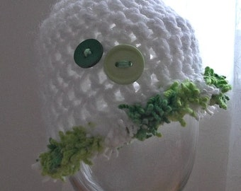 ADORABLE..SPRING and Summer... White Cap with Green / White trimming...Baby Boy or Girl..Newborn. Photo Prop...Ready to Ship