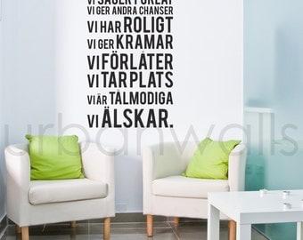 Vinyl Wall Sticker Decal, I det här huset... - Swedish