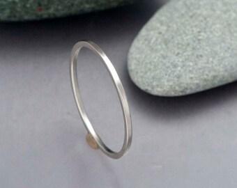 Square Platinum Wedding Band - Choice of 1-2mm Square Platinum Stacking Ring