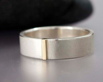 14k Gold and Sterling Silver Unisex Wedding Band - 6mm Wide Flat Two Tone Wedding Ring with Gold Bar for Men or Women