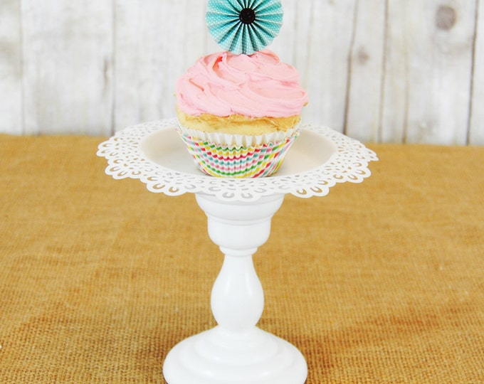 One Whimsical antiqued style Pedestal Cupcake Stand - Any color available.