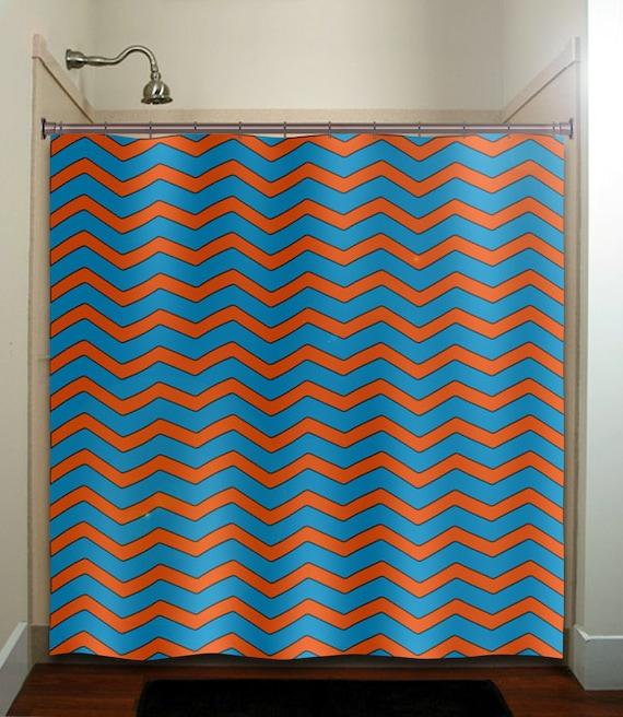 Deep turquoise blue orange chevron shower by tablishedworks for Blue and orange bathroom