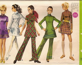 Vintage 60s Pattern Tunic Top, A line Mini Dress, Pants Simplicity 8463 - Jr / Teen Size 11 / 12