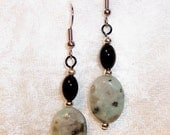 Sesame Jasper Earrings, Natural Gemstone Earrings, Seafoam Green Earrings, Black Earrings, Clip ons Available