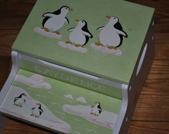 Custom 2 step stool & storage bench -- Penguins on Parade design