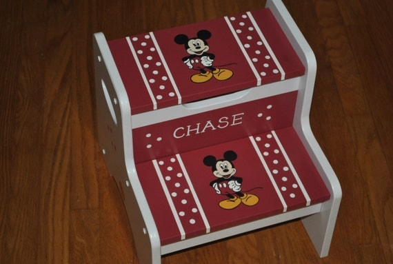 Items similar to kids personalized 2 step stool mickey mouse on etsy - Mickey mouse stool ...